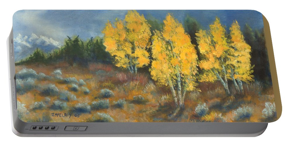 Landscape Portable Battery Charger featuring the painting Fall Delight by Jerry McElroy