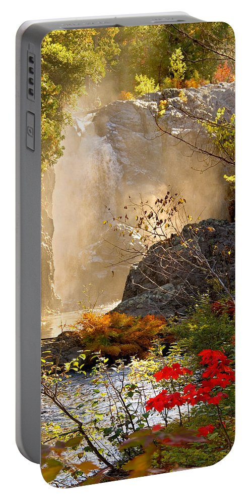 Fall Portable Battery Charger featuring the photograph Fall Falls Mist Dead River Falls Marquette Mi by Michael Bessler