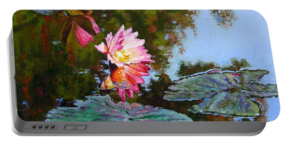 Water Lily Portable Battery Charger featuring the painting Fall Glow by John Lautermilch