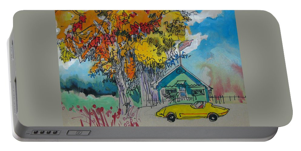 Fall Portable Battery Charger featuring the drawing Fall by Guanyu Shi