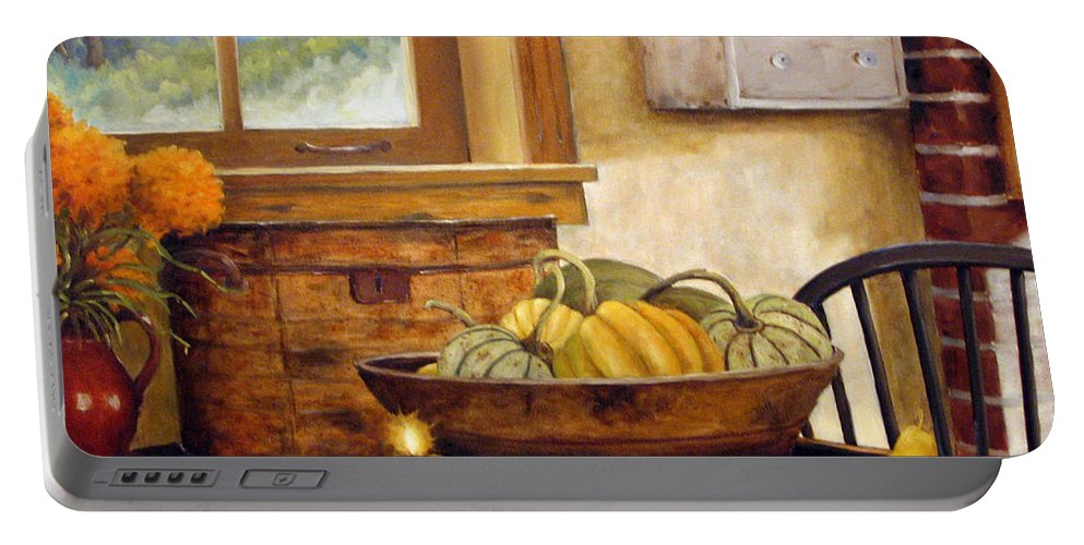 Fall Portable Battery Charger featuring the painting Fall Harvest by Richard T Pranke