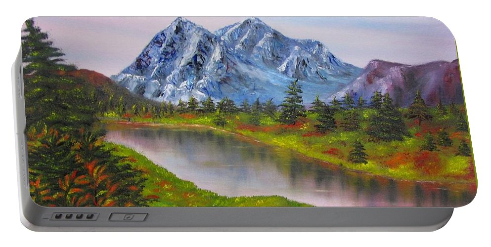 Fall Portable Battery Charger featuring the painting Fall In Mountains Landscape Oil Painting by Natalja Picugina