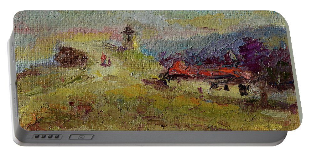 Portable Battery Charger featuring the painting Fall In Orheiul Vechi by Sveatoslav Zacon