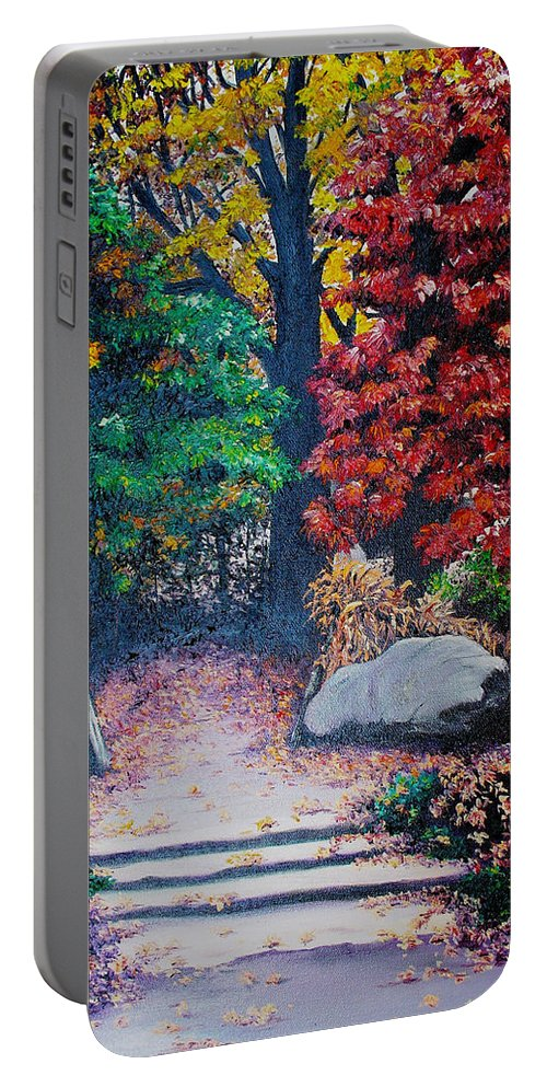 A N Original Painting Of An Autumn Scene In The Gateneau In Quebec Portable Battery Charger featuring the painting Fall In Quebec Canada by Karin Dawn Kelshall- Best