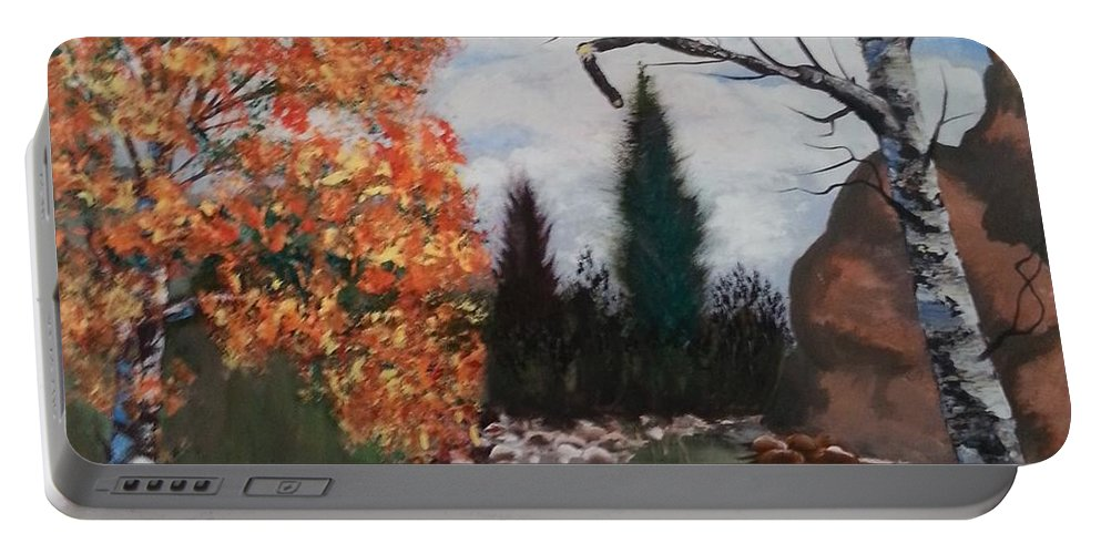 Lanscape Portable Battery Charger featuring the painting Fall In The Mountains by Ken Farnsworth