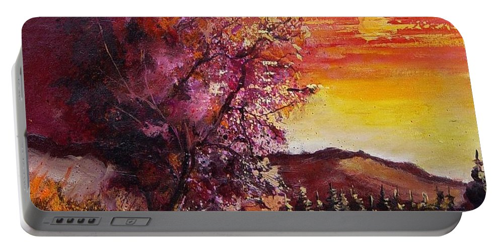 Autumn Portable Battery Charger featuring the painting Fall In Villers by Pol Ledent