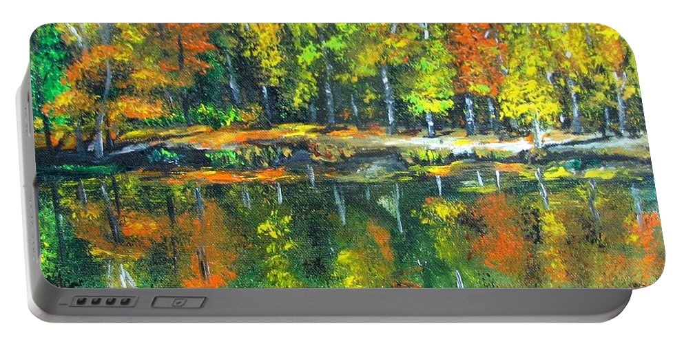 Fall Portable Battery Charger featuring the painting Fall Landscape Acrylic Painting Framed by Natalja Picugina