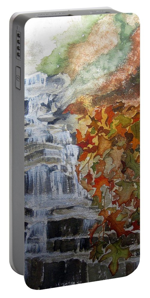 Water Fall Portable Battery Charger featuring the painting Fall Leaves by Julia RIETZ