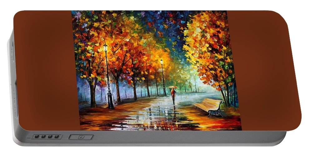 Afremov Portable Battery Charger featuring the painting Fall Marathon by Leonid Afremov