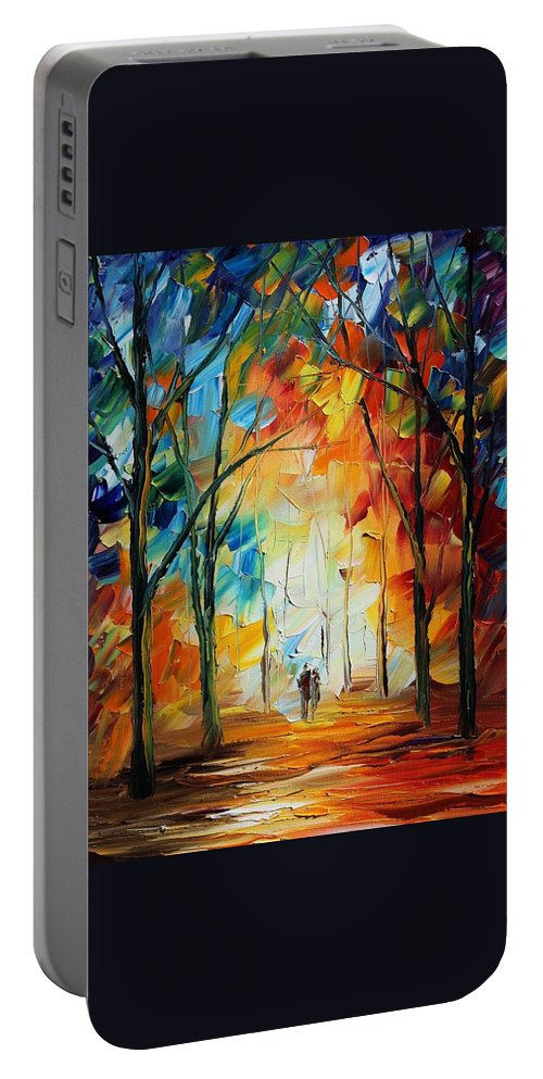 Afremov Portable Battery Charger featuring the painting Fall New Original by Leonid Afremov