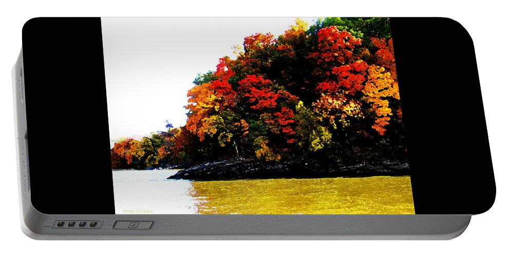 Fall Portable Battery Charger featuring the digital art Fall On Grand Lake by Susan Vineyard
