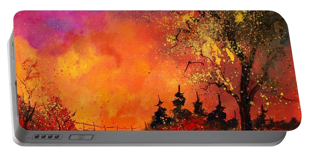 River Portable Battery Charger featuring the painting Fall by Pol Ledent