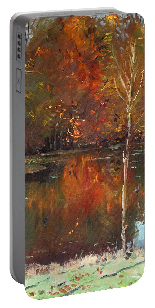 Landscape Portable Battery Charger featuring the painting Fall Reflection by Ylli Haruni