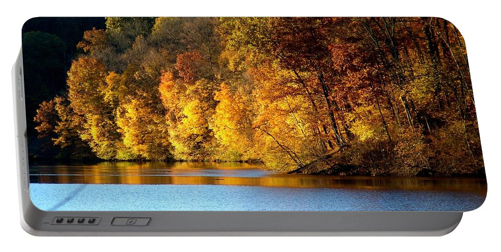 Trees Portable Battery Charger featuring the photograph Fall Reflections of Indiana by Carol Milisen