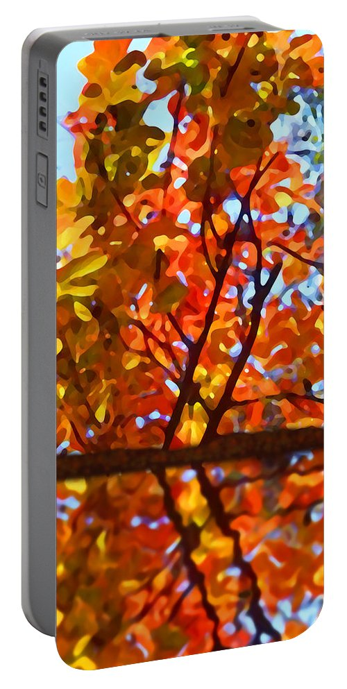 Trees Portable Battery Charger featuring the painting Fall Reflextion by Amy Vangsgard