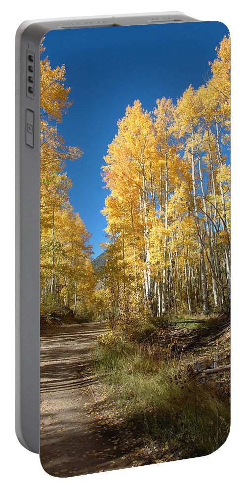 Landscape Portable Battery Charger featuring the photograph Fall Road by Jerry McElroy