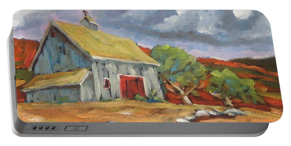 Farm Portable Battery Charger featuring the painting Fall Scene by Richard T Pranke