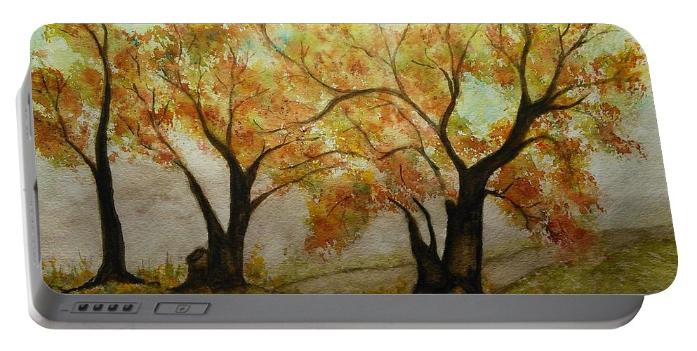 Fall Colors Portable Battery Charger featuring the painting Fall Scene by Susan Nielsen