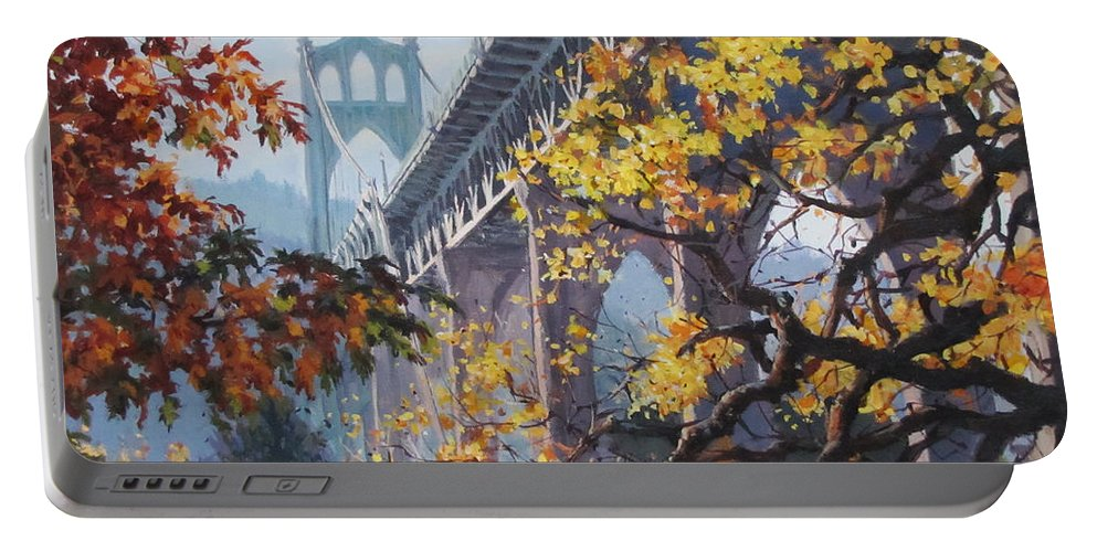 Portland Portable Battery Charger featuring the painting Fall St Johns by Karen Ilari