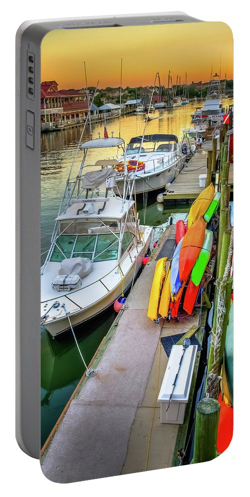 Shem Creek Portable Battery Charger featuring the photograph Fall Sunset On Shem Creek by Curtis Cabana