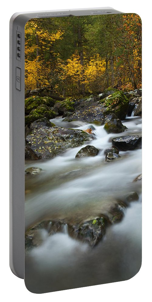 Stream Portable Battery Charger featuring the photograph Fall Surge by Mike Dawson