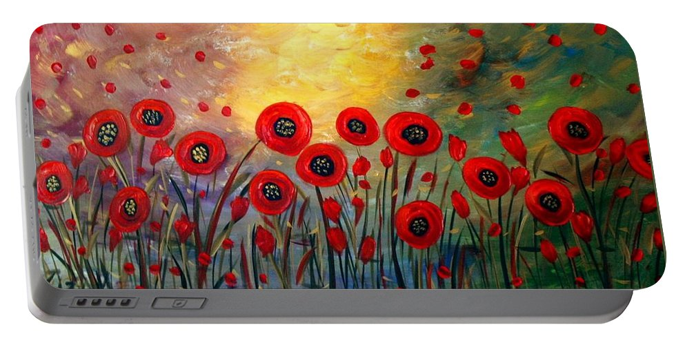 Flowers Portable Battery Charger featuring the painting Fall Time Poppies by Luiza Vizoli