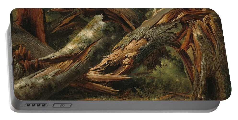 Alexandre Calame Portable Battery Charger featuring the painting Fallen Tree by Alexandre Calame
