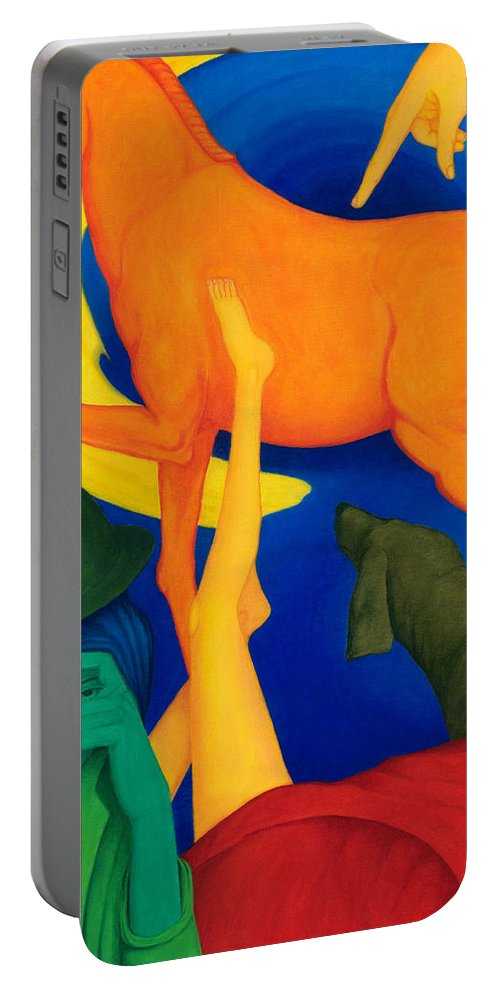 Surreal Portable Battery Charger featuring the painting Falling Down. by Andrzej Pietal