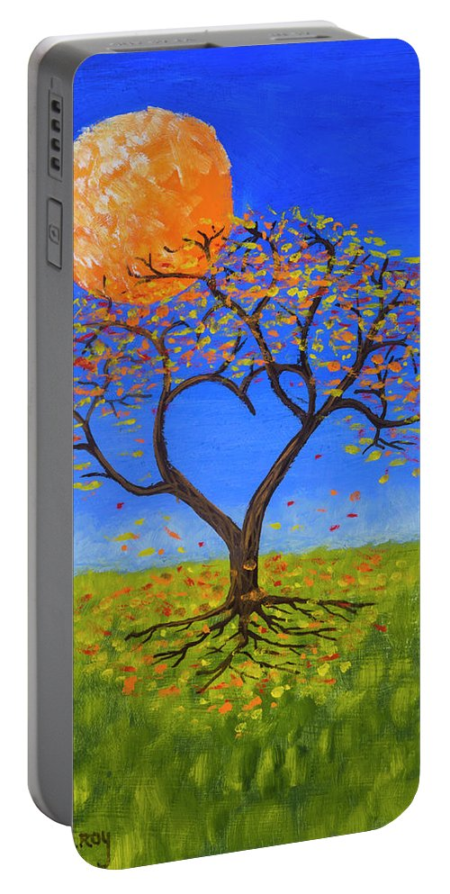 Love Portable Battery Charger featuring the painting Falling For You by Jerry McElroy