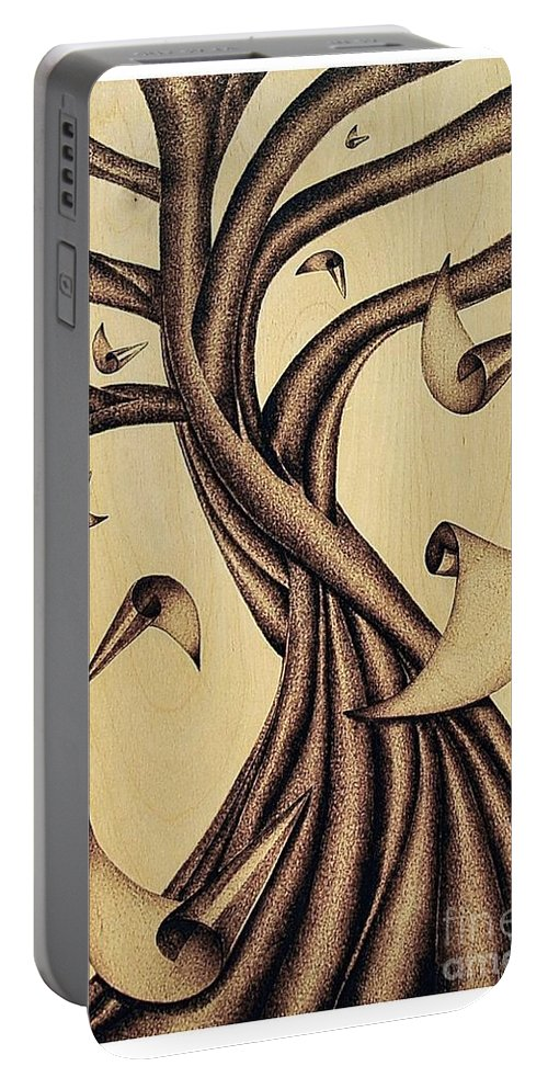 Albero Portable Battery Charger featuring the pyrography Falling by Ilaria Andreucci