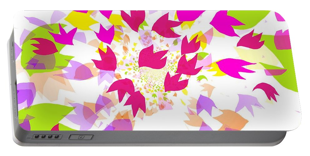 Leaves Portable Battery Charger featuring the digital art Falling Leaves by Barbara Moignard
