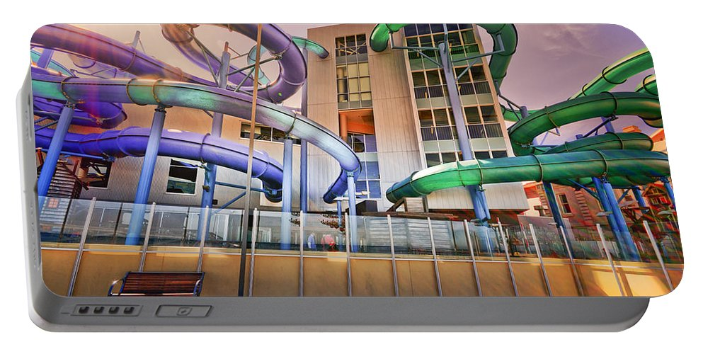 Waterslide Portable Battery Charger featuring the photograph Fallopian Adventure by Wayne Sherriff