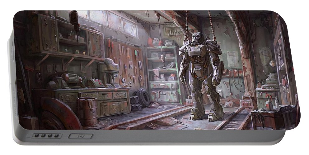 Fallout Portable Battery Charger featuring the digital art Fallout 4 Armour by Movie Poster Prints