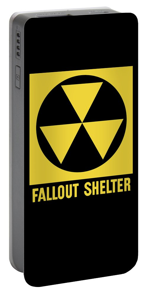Fallout Shelter Portable Battery Charger featuring the mixed media Fallout Shelter Sign by War Is Hell Store