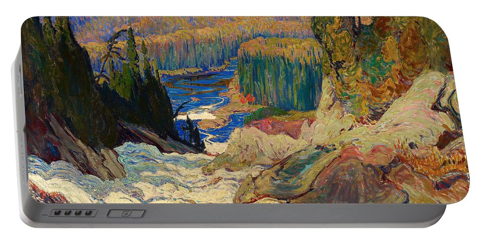 Painting Portable Battery Charger featuring the painting Falls - Montreal River by Mountain Dreams