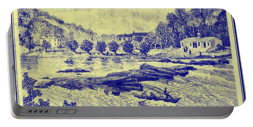 Falls Portable Battery Charger featuring the photograph Falls Of The Schuylkill And Fort St Davids 1794 by Bill Cannon