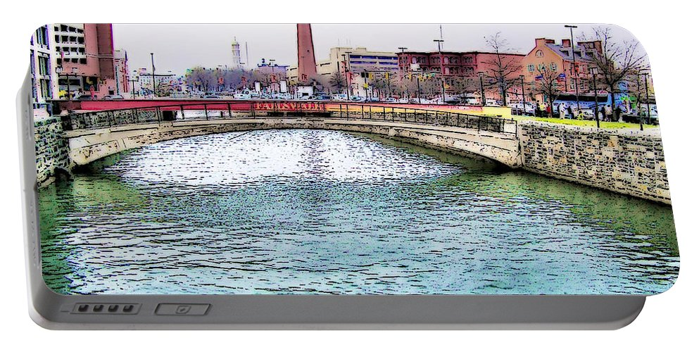 2d Portable Battery Charger featuring the photograph Fallswalk And Shot Tower by Brian Wallace