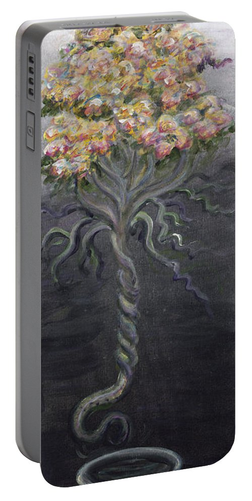 Flowers Portable Battery Charger featuring the painting False Teaching by Nadine Rippelmeyer