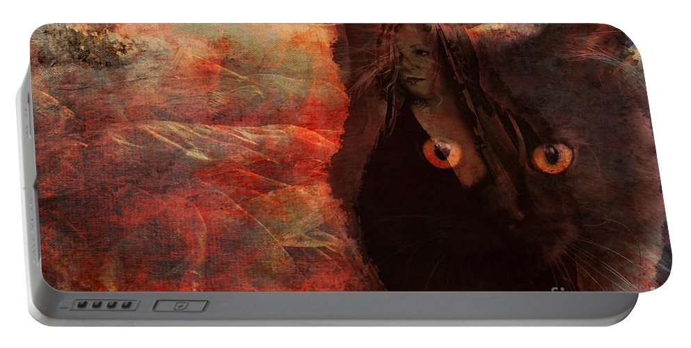 Witch Portable Battery Charger featuring the digital art Familiar 2015 by Kathryn Strick