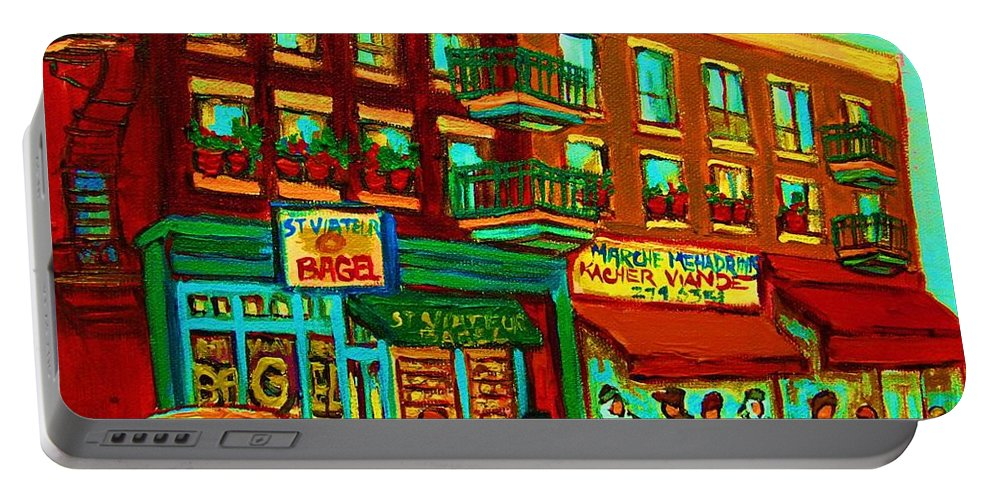 St Viateur Bagel Shop Montreal Street Scenes Portable Battery Charger featuring the painting Family Frolic On St.viateur Street by Carole Spandau