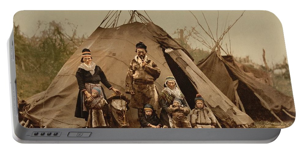 Family-rag-sami-lapland-norway Portable Battery Charger featuring the digital art Family by Mark Carlson