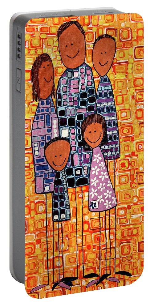 Family Portable Battery Charger featuring the painting Family Portrait by Donna Howard