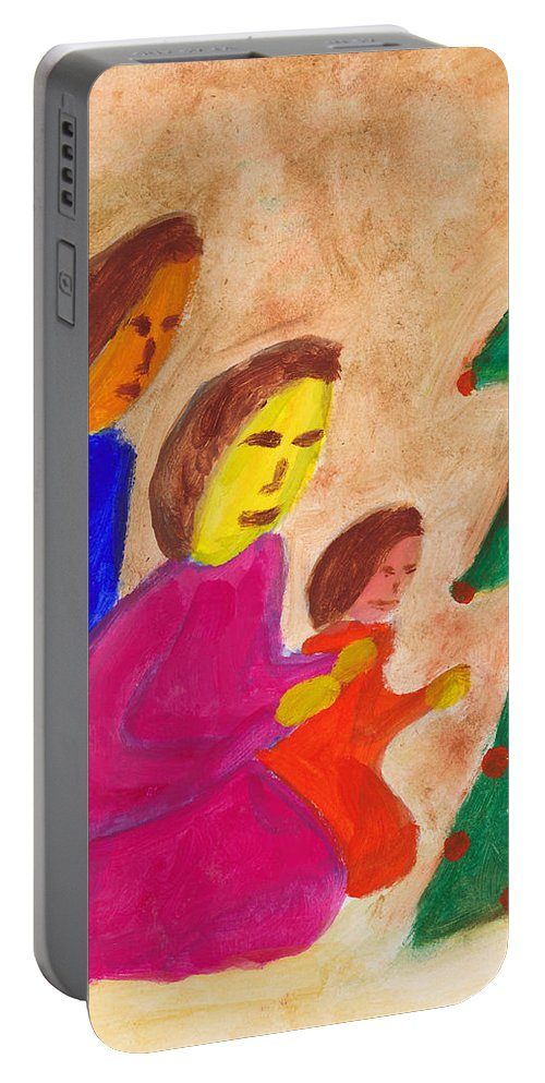 Family Portable Battery Charger featuring the painting Family Praise by Matthew Doronila