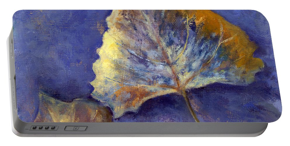 Leaves Portable Battery Charger featuring the painting Fanciful Leaves by Chris Neil Smith