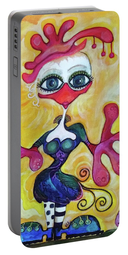 Heart Portable Battery Charger featuring the painting Fancy Chick by Art By Ela