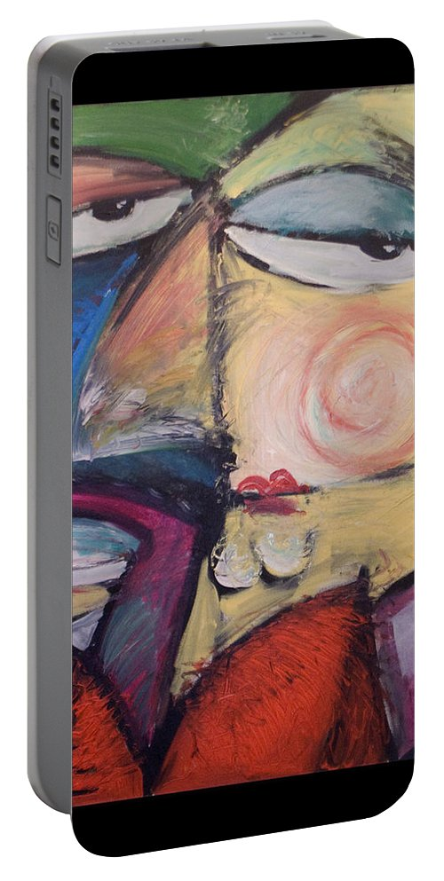 Humor Portable Battery Charger featuring the painting Fancy Man At Art Opening by Tim Nyberg