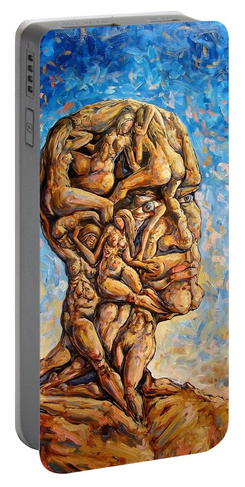 Surrealism Portable Battery Charger featuring the painting Fantasies Of A 120 Years Old Man Struggling To Survive by Darwin Leon
