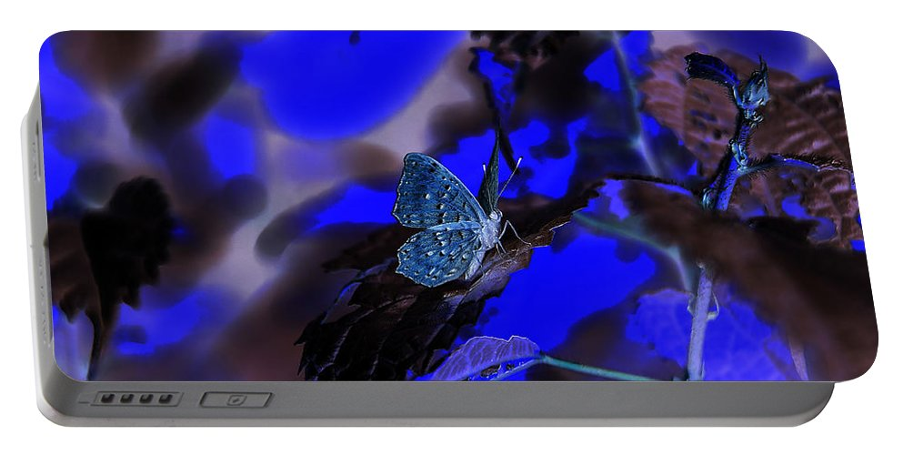Blue Portable Battery Charger featuring the photograph Fantasy Blue Butterfly by Leanne Lei