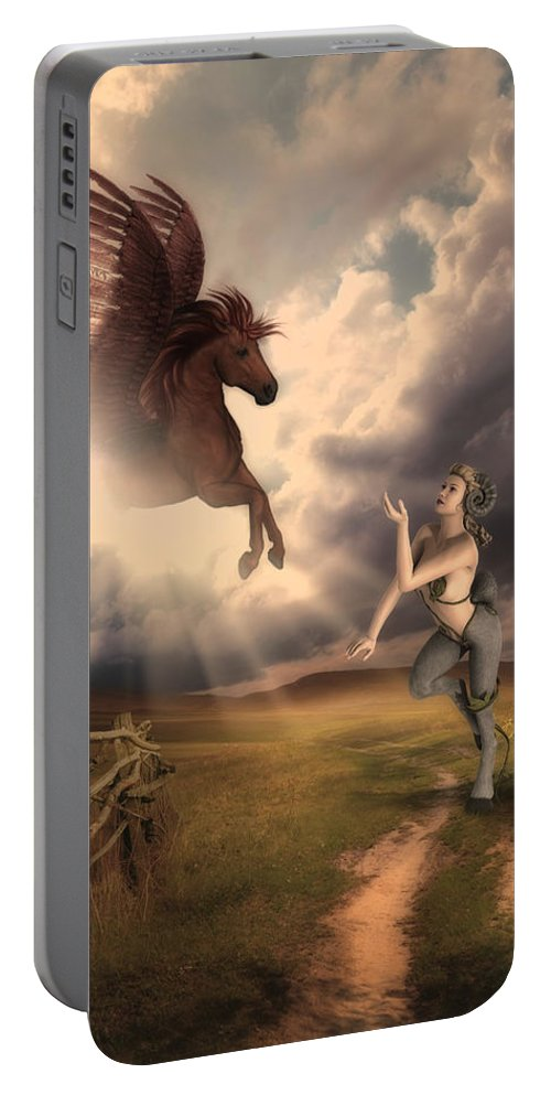 Winged Horse Portable Battery Charger featuring the mixed media Fantasy Creatures 1 by Solomon Barroa