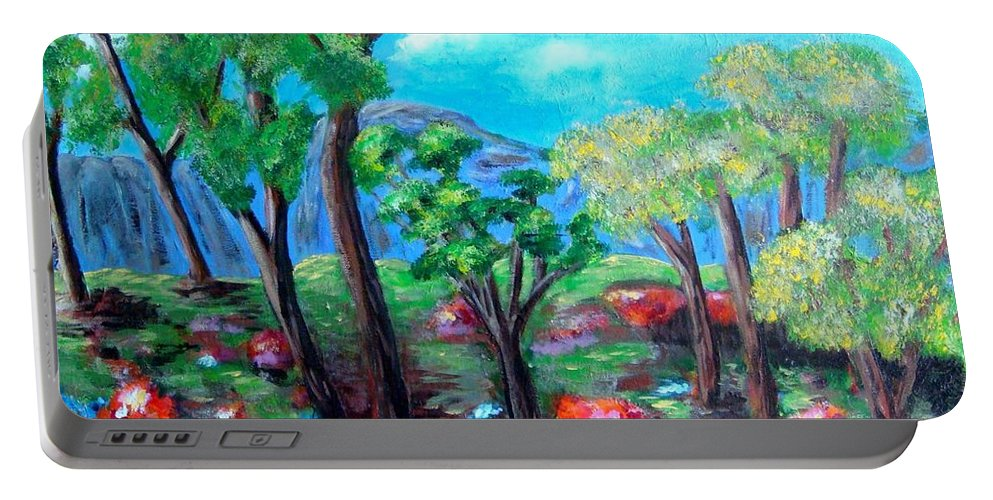 Fantasy Portable Battery Charger featuring the painting Fantasy Forest by Laurie Morgan